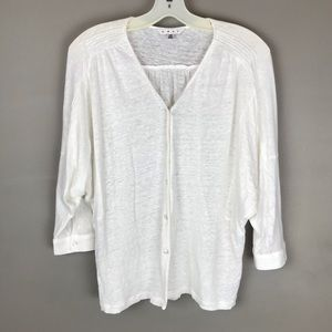 CAbi Sweetheart Topper White Linen top style #779